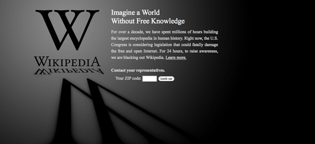 Online reference tool Wikipedia was one of the foremost opponents of SOPA. The site was blacked out in protest of the bill.
