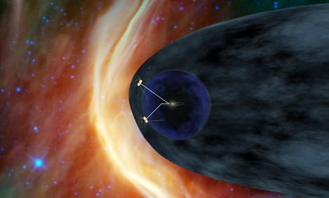 An artist's concept show two Voyager spacecraft exploring a region of space known as the heliosheath.