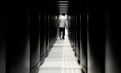 "A corridor of  ""Hermit,"" one of the largest super computers in Europe. Proposed extreme-scale computers will be 1000 times faster."