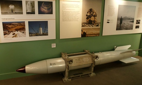A B-61 shell is on display in a Las Vegas museum.