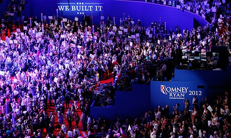 Delegates gather during the Republican National Convention in Tampa, Fla.