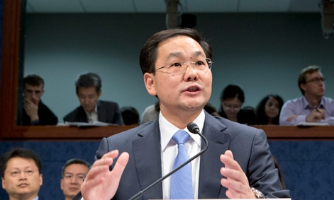 Charles Ding, Huawei Technologies Ltd's senior vice president for the U.S., testifies before the House Intelligence Committee