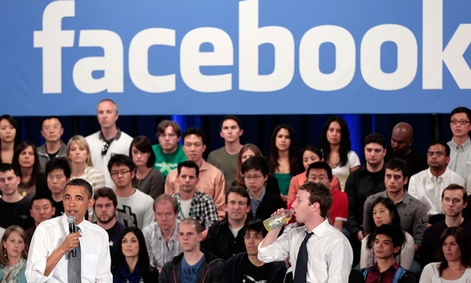 President Obama speaks at a town hall meeting at Facebook headquarters.