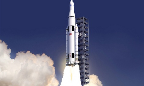 An artist's rendering of what the Space Launch System will look like.