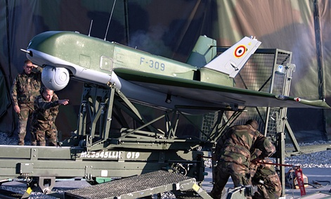 French soldiers prepare to launch an unmanned observation drone in 2009.