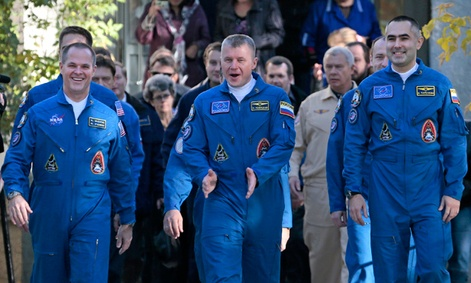 The three members of the next expedition to the International Space Station.