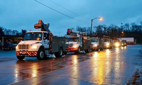 Line crews and support personnel leave from Ohio and head to New Jersey in advance of Hurricane Sandy.