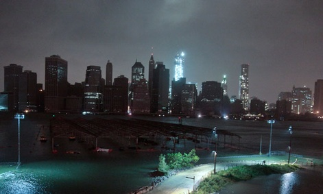 Much of New York lost power Monday evening during the storm.