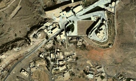 An aerial image of a Nov. 7 drone strike at Beyt al-Ahmar, Yemen