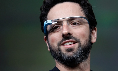 Google co-founder Sergey Brin demonstrates Google's new Glass, wearable internet glasses.