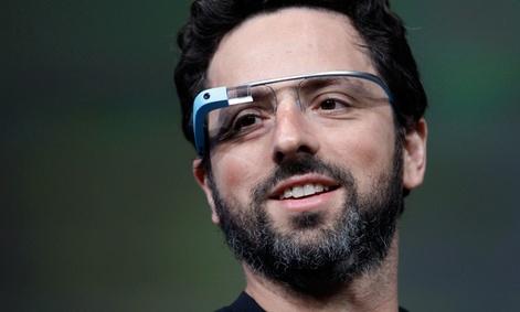 Google co-founder Sergey Brin demonstrates Google's new Glass, wearable internet glasses.