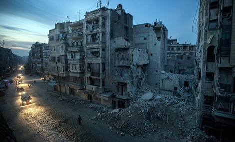 Destroyed buildings in a rebel-controlled area of Aleppo, Syria.