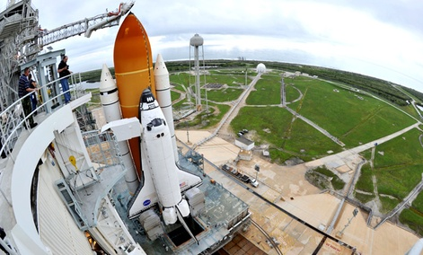 Space Shuttle Atlantis is seen on the pad at the Kennedy Space Center at Cape Canaveral, Fla. , Thursday July 7, 2011.