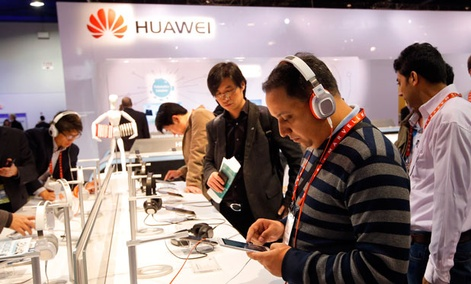 Huawei had a booth at the International Consumer Electronics Show in Las Vegas in January.