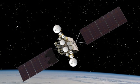 An artist rendering of the AEHF-1 satellite in orbit above the earth.