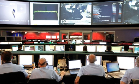 The mission control room at NASA's Jet Propulsion Laboratory in Pasadena, Calif.