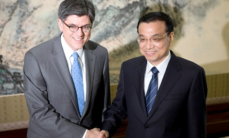 U.S. Treasury Secretary Jacob Lew, left, and Chinese Premier Li Keqiang