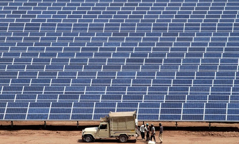 The Gujarat Solar Park near Ahmadabad, India