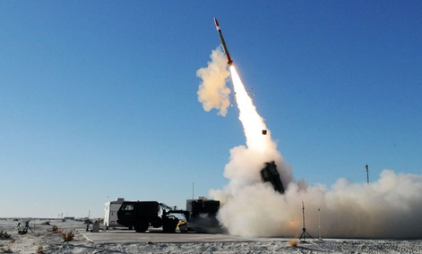 A Medium Extended Air Defense System missile is tested in November at White Sands.