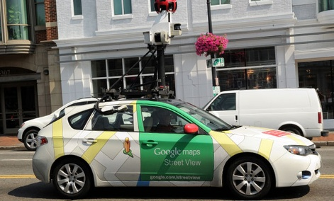 One of Google's streetview cars drives through Washington, DC.