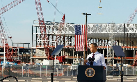President Barack Obama speaks during construction expansion at Intel, maker of microchips.