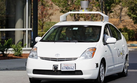 One of Google's driverless cars in action, a product of the company's X-lab