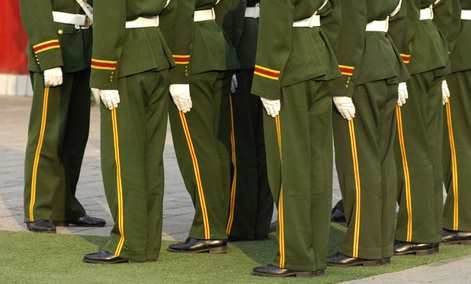 Members of the Chinese Army stand in formation.