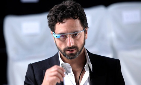 Google co-founder Sergey Brin wears Google Glass