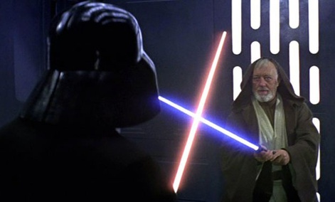 Darth Vader, left, and Obi-Wan Kenobi, right, show off the original use of plasma scalpels in A New Hope.