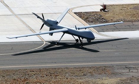 A Customs and Border Protection unmanned aerial vehicle takes off in Arizona.