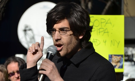 Aaron Swartz spoke at a SOPA protest in 2012.