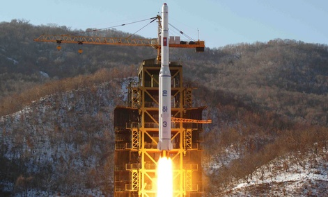 A North Korea's Unha-3 rocket lifts off from the Sohae launch pad in Tongchang-ri Dec. 12, 2012.