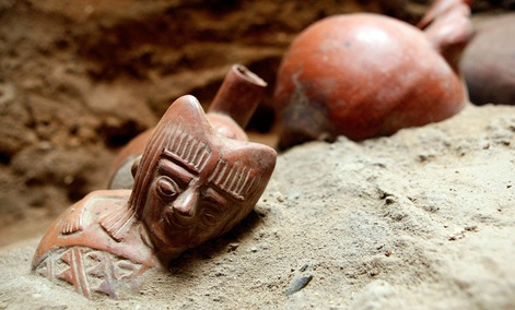 Peruvian archaeological pieces sit at the Jotoro archaeological complex in Lambayeque, Peru.