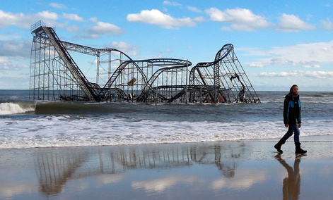 A rollercoaster that once sat on the Funtown Pier in Seaside Heights, N.J., now rests in the ocean.