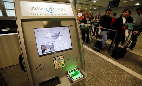 A Global Entry Trusted Traveler Network kiosk awaits arriving international passengers in Los Angeles in 2010.