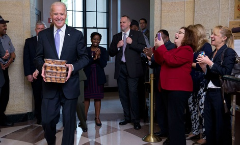 Vice President Joe Biden brought muffins to EPA staff back at work Thursday.