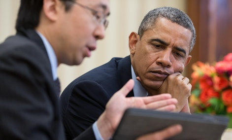 Todd Park shows Barack Obama information on a tablet computer in April.