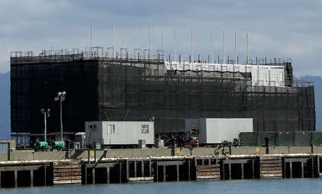 A barge on Treasure Island in San Francisco, Oct. 29, 2013 has sparked online speculation that it is owned by Google.