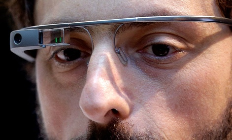Google co-founder Sergey Brin wears Google Glass.