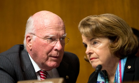 Senate Judiciary Committee Chairman Sen. Patrick Leahy, D-Vt., left, talks with Sen. Dianne Feinstein, D-Calif.