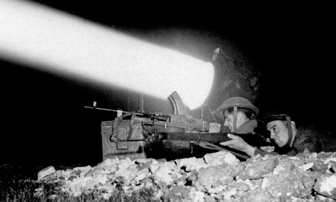 A WWII era searchlight used by allied forces in Caen, France.