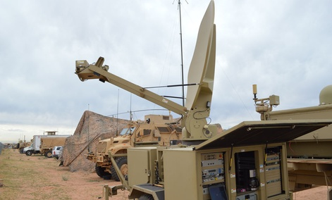 Soldiers train with a new tactical communications node at Network Integration Evaluation 14.1 at Fort Bliss in October.