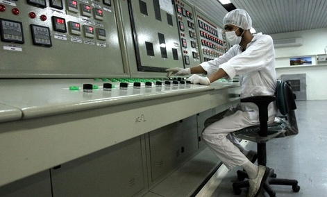 An Iranian technician works at the Uranium Conversion Facility just outside the city of Isfahan, Iran.