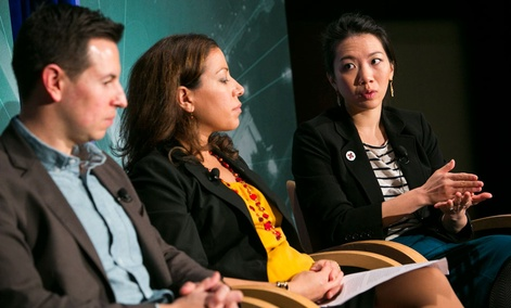 From left, Carter Hewgley, Nicole Chapple and Gloria Huang participated in the panel Thursday.