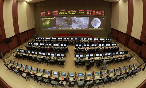 Researchers work in the control room of the Chang'e 3 lunar probe at the Beijing Aerospace Control Center,.