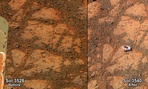 This composite image provided by NASA shows before and-after images taken by the Opportunity rover.