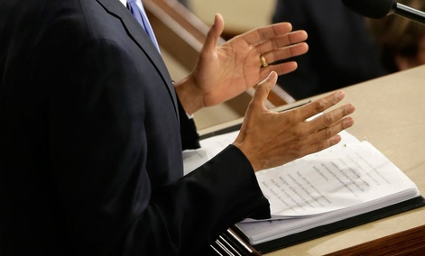 Barack Obama gestures as he delivers his State of the Union address Tuesday evening.