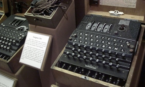 The Enigma machine, right, once used by the crews of German U-boats is shown in a British museum.