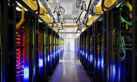 The campus-network room at a data center in Council Bluffs, Iowa.