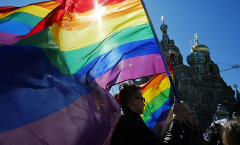 Gay Russian activists protest in St. Petersburg in May.